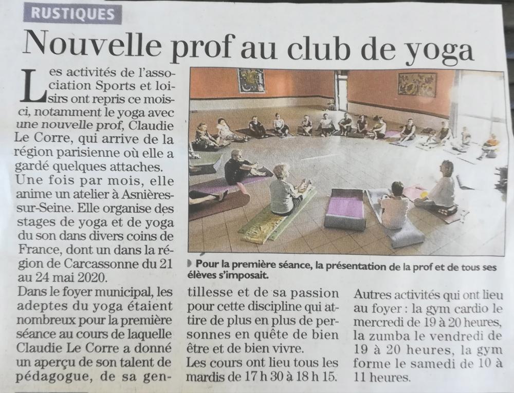 Article de la Dépêche sur la nouvelle prof au club de yoga de Rustique.